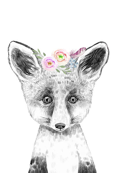 Art Print Floral Woodland Fox Large Size