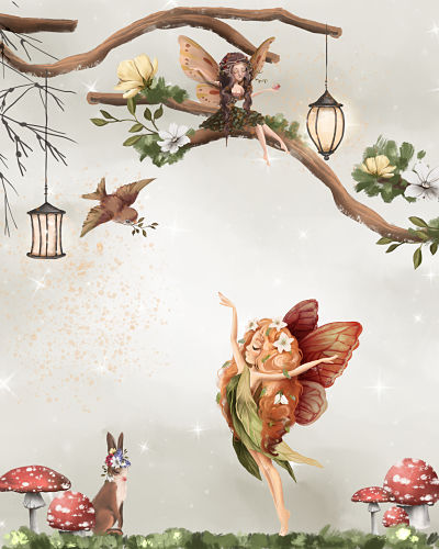 Art Print Enchanted Wood Dancing Fairy Large Size