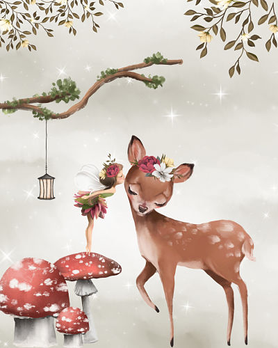 Art Print Enchanted Wood Fawn Kissing Fairy Large Size