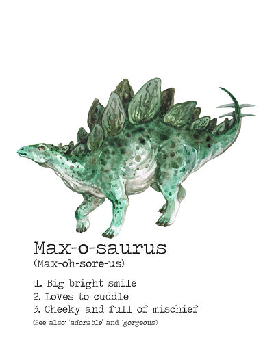 STEGOSAURUS GREEN Dictionary Meaning Print- Large Size